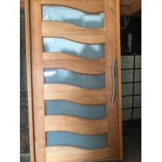 Wooden Door with Glass Inserts